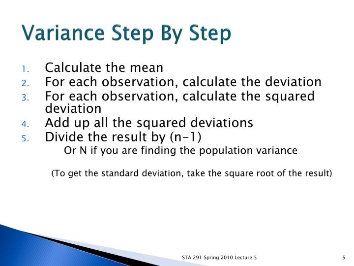 Variance Step By Step