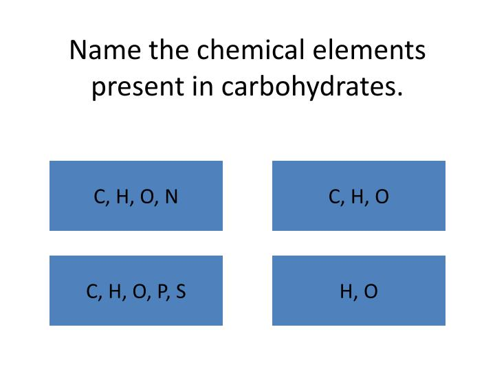 Name the chemical elements present in carbohydrates.