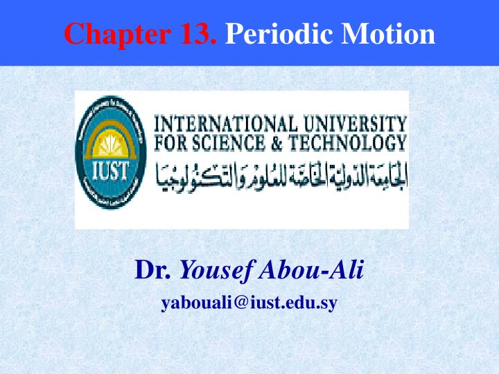 Chapter 13 periodic motion
