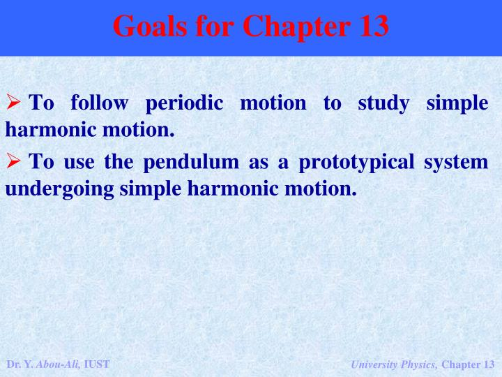 Goals for Chapter 13