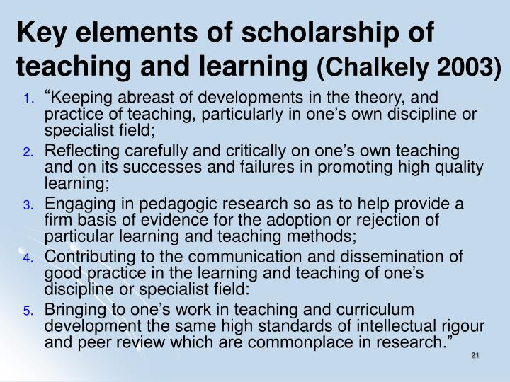 Key elements of scholarship of