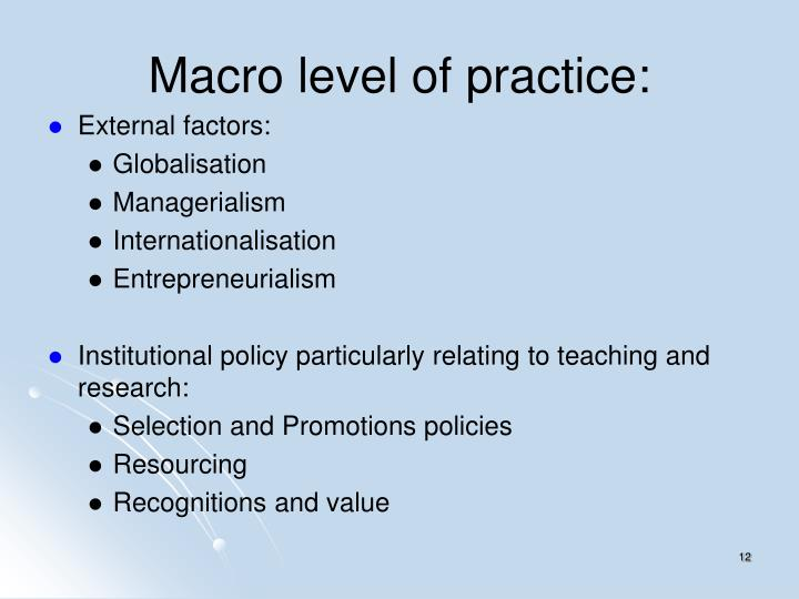 Macro level of practice: