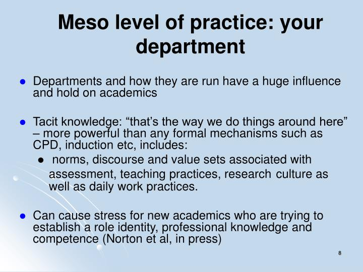 Meso level of practice: your department