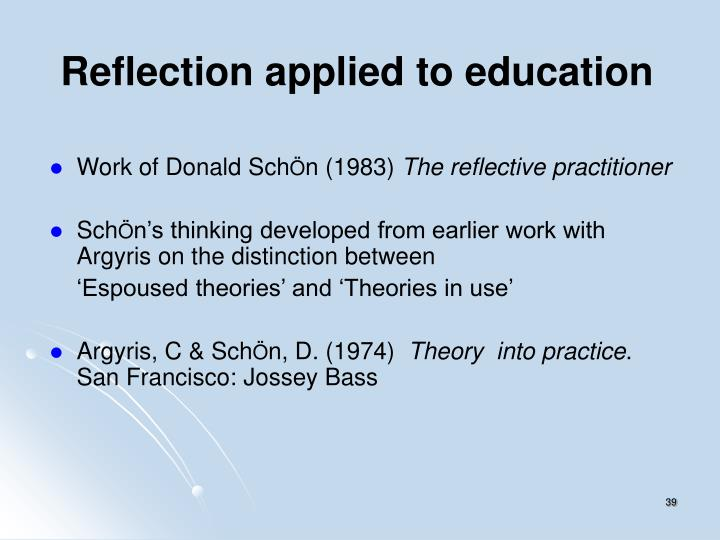 Reflection applied to education