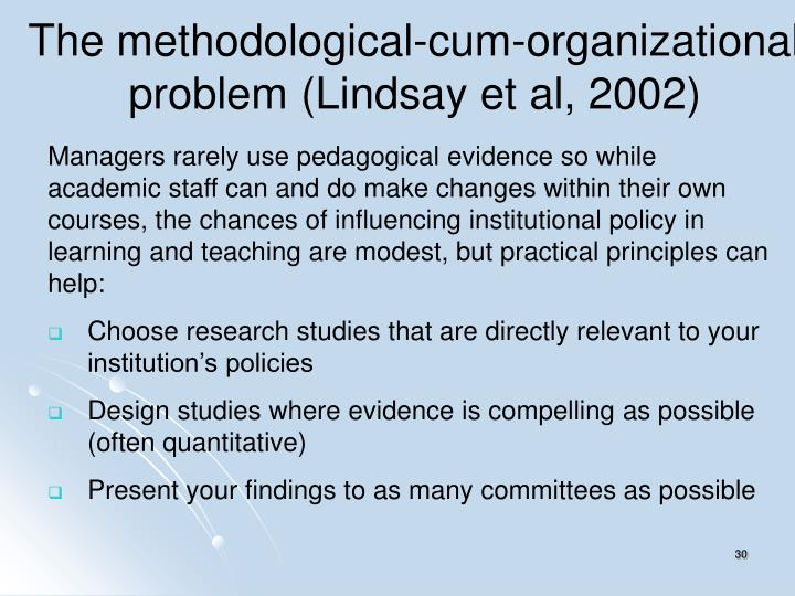 The methodological-cum-organizational problem (Lindsay et al, 2002)