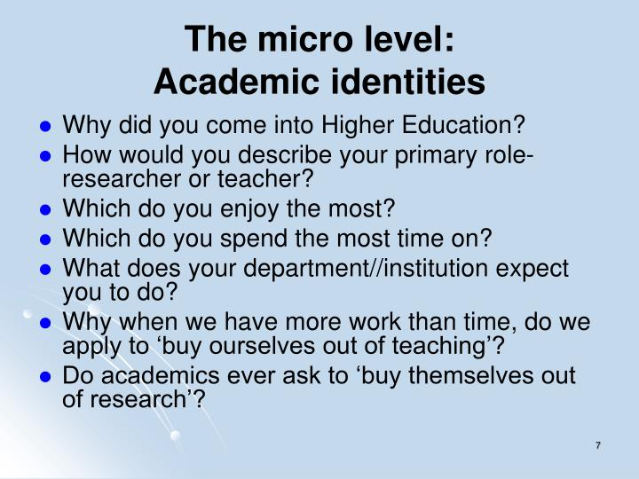 The micro level: