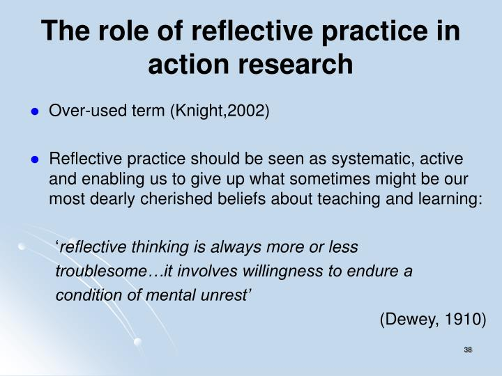 The role of reflective practice in action research