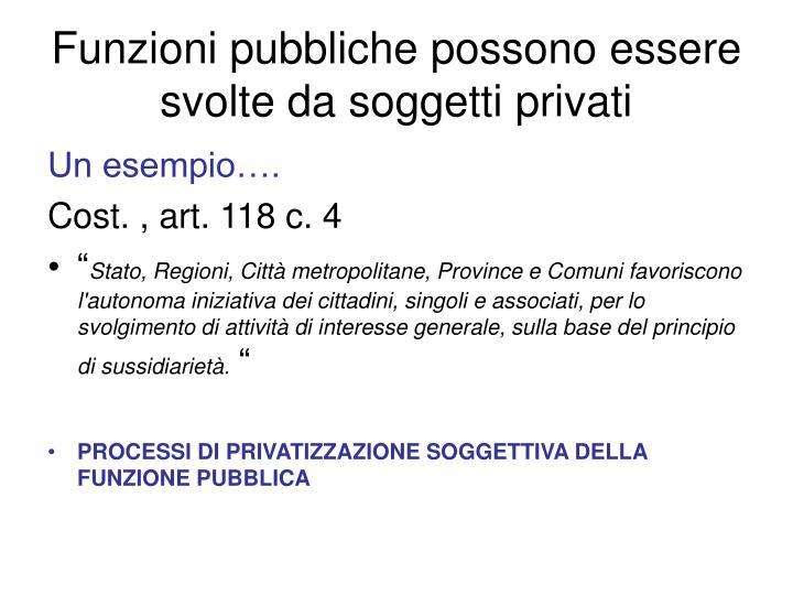 Funzioni pubbliche possono essere svolte da soggetti privati