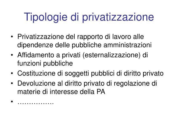 Tipologie di privatizzazione