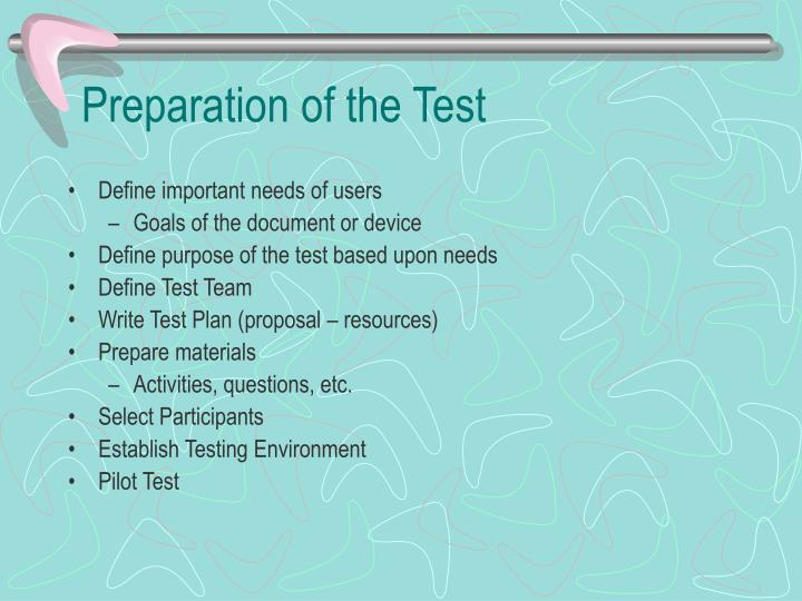 Preparation of the Test
