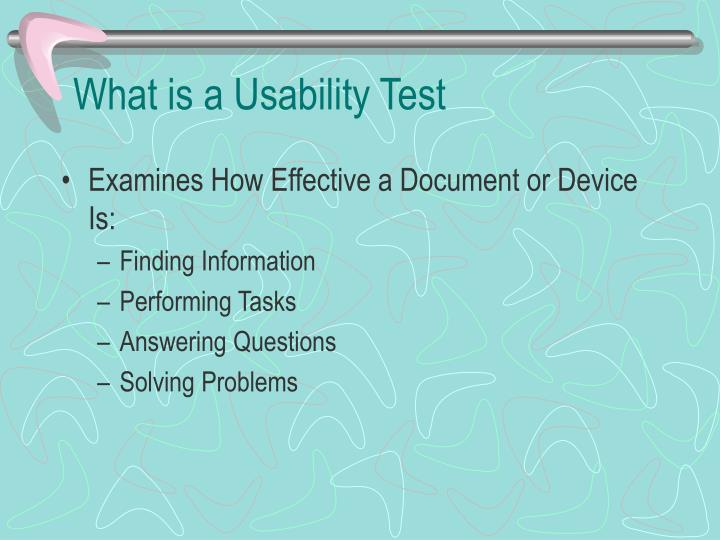 What is a usability test