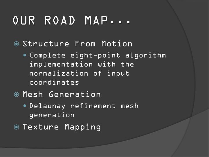 OUR ROAD MAP...