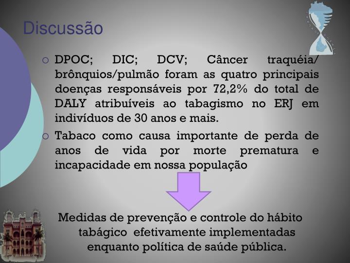 DPOC; DIC; DCV; Câncer traquéia/ brônquios/pulmão foram as quatro principais doenças responsáveis por 72,2% do total de DALY atribuíveis ao tabagismo no ERJ em indivíduos de 30 anos e mais.