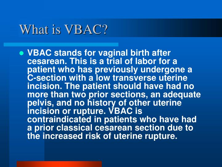 What is VBAC?