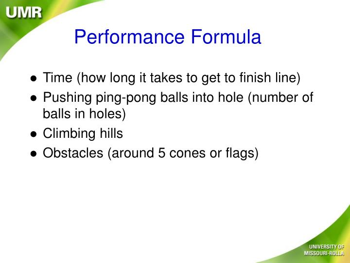 Performance Formula