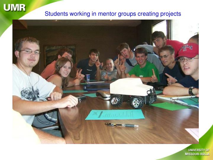 Students working in mentor groups creating projects
