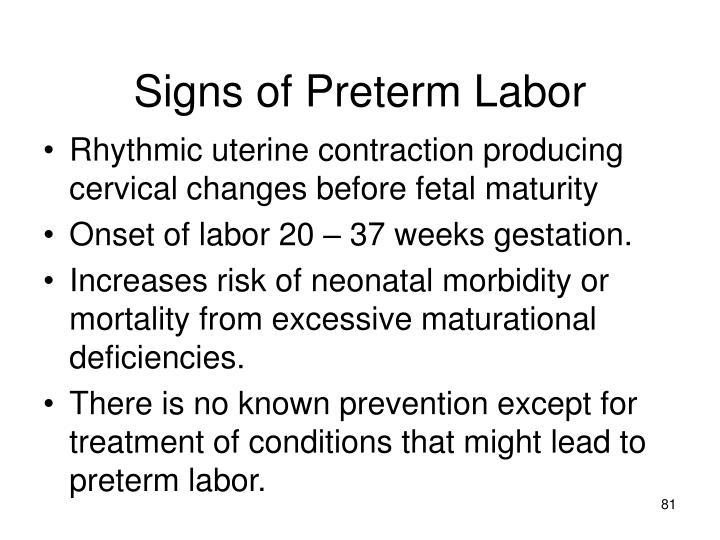 Signs of Preterm Labor