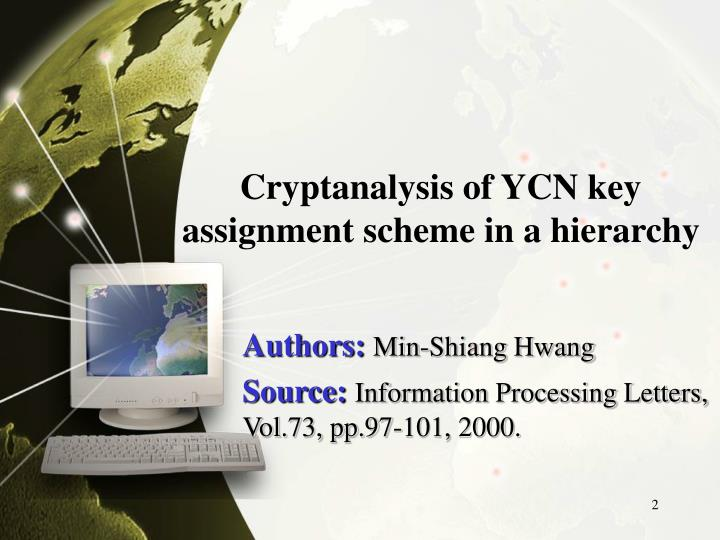 Cryptanalysis of YCN key assignment scheme in a hierarchy