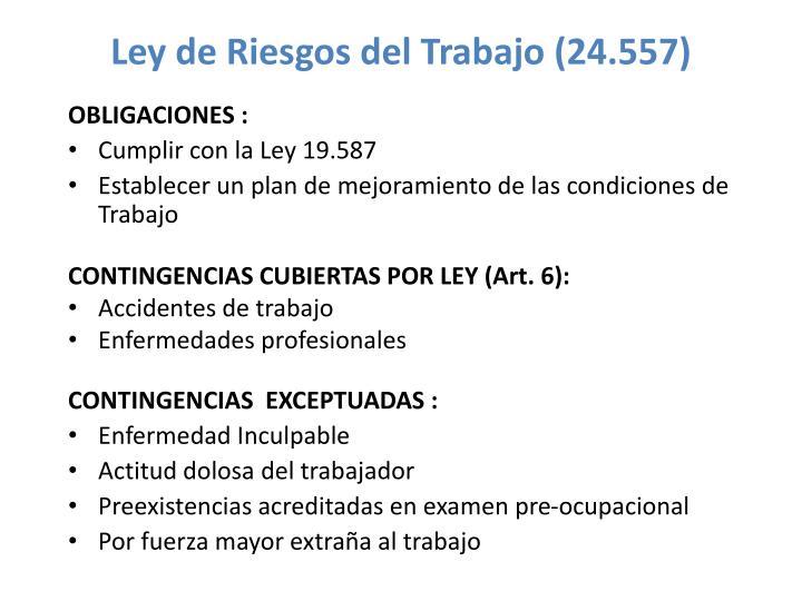 Ley de Riesgos del Trabajo (24.557)