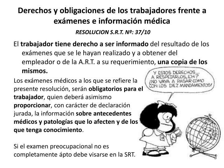 Derechos y obligaciones de los trabajadores frente a exámenes e información médica