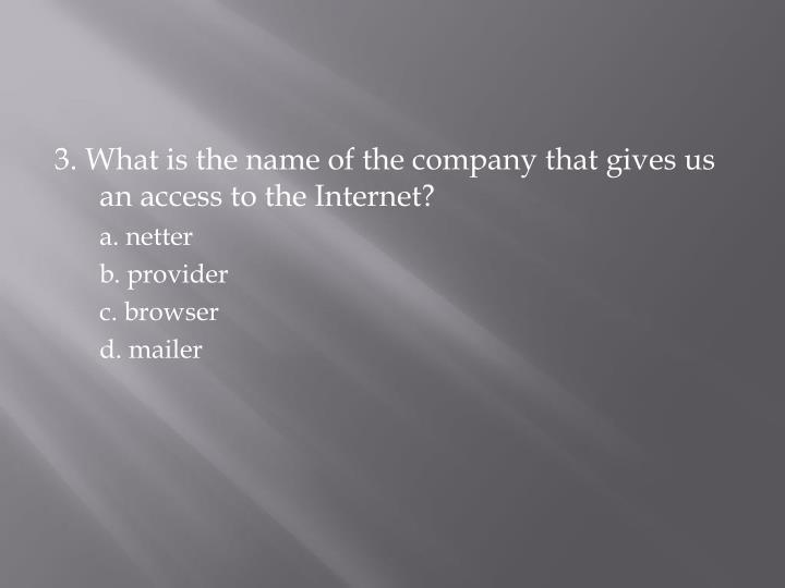 3. What is the name of the company that gives us an access to the Internet?