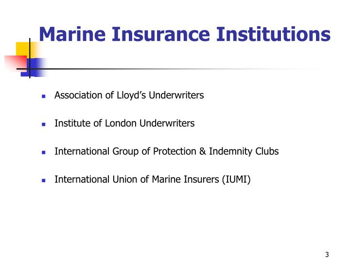 Marine insurance institutions