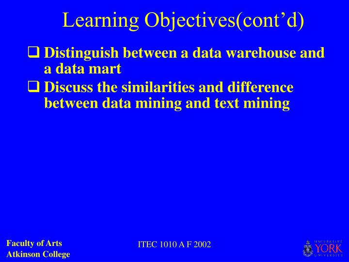 Learning Objectives(cont'd)
