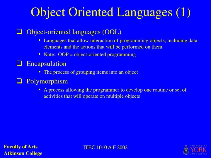 Object oriented languages 1