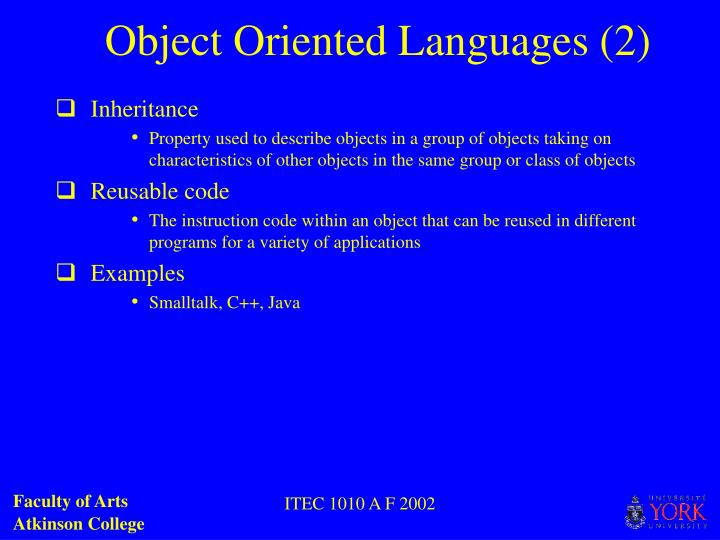 Object Oriented Languages (2)