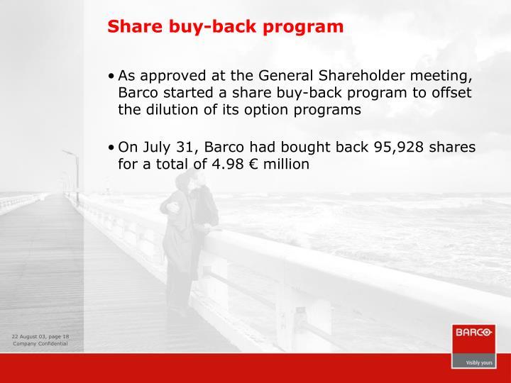 Share buy-back program
