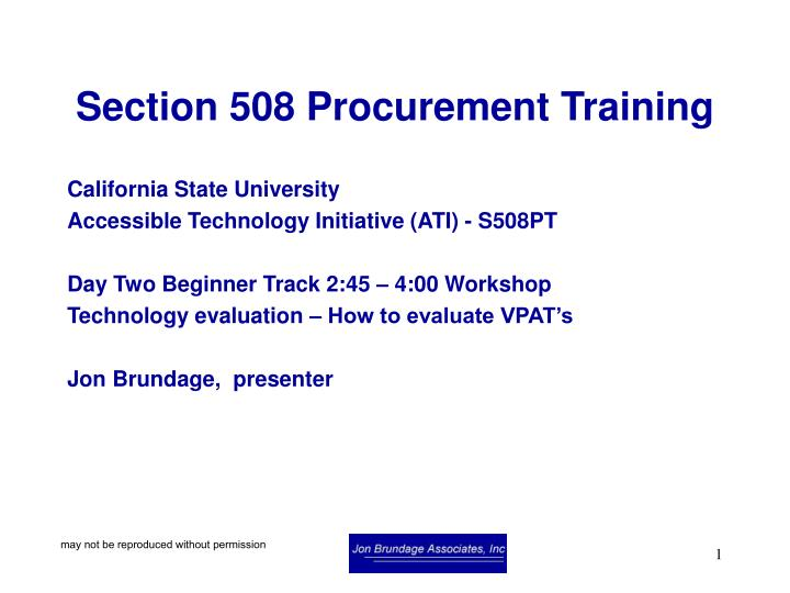Section 508 procurement training