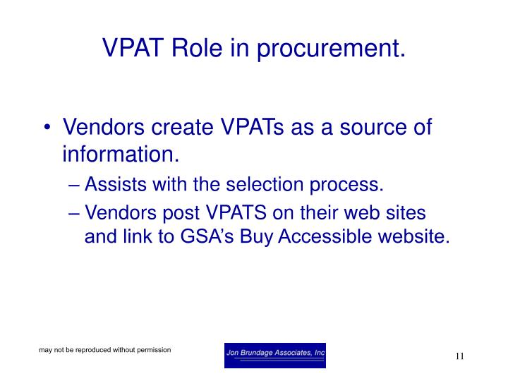 VPAT Role in procurement