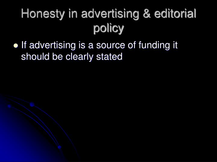 Honesty in advertising & editorial policy