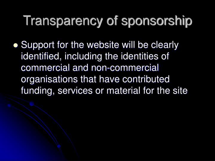 Transparency of sponsorship