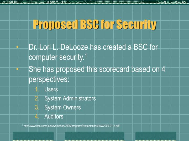 Proposed BSC for Security