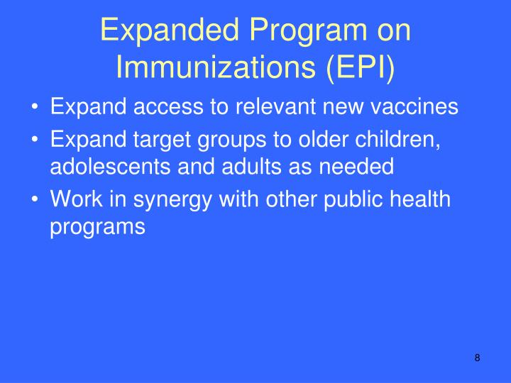 Expanded Program on Immunizations (EPI)