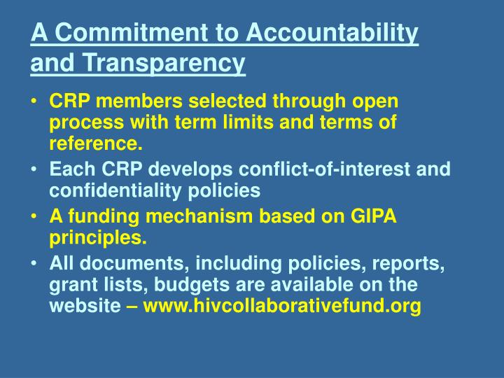 A Commitment to Accountability