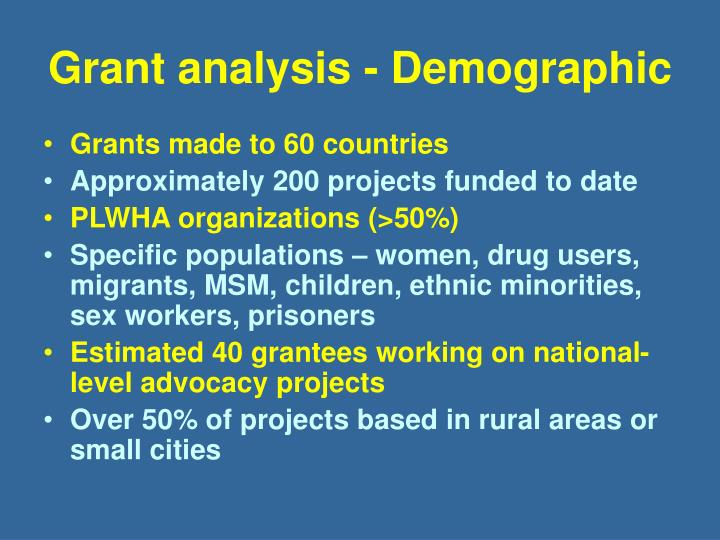 Grant analysis - Demographic