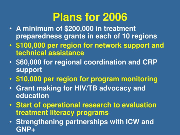 Plans for 2006