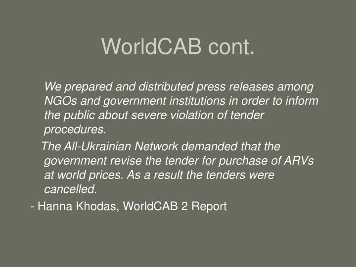 WorldCAB cont.