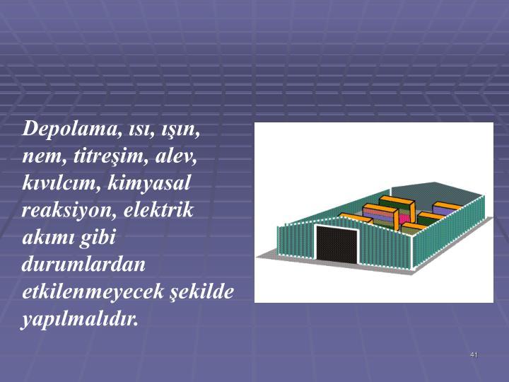 Depolama, s, n, nem, titreim, alev, kvlcm, kimyasal reaksiyon, elektrik akm gibi durumlardan etkilenmeyecek ekilde yaplmaldr.