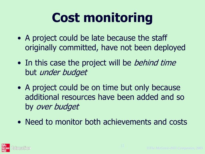 Cost monitoring