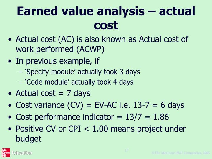 Earned value analysis – actual cost