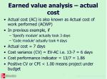 earned value analysis actual cost