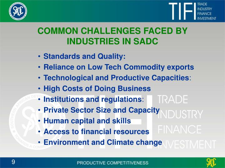 COMMON CHALLENGES FACED BY INDUSTRIES IN SADC