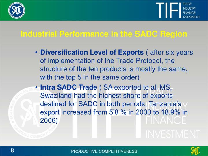 Industrial Performance in the SADC Region
