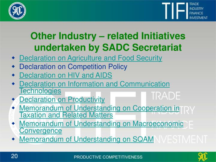 Other Industry – related Initiatives undertaken by SADC Secretariat