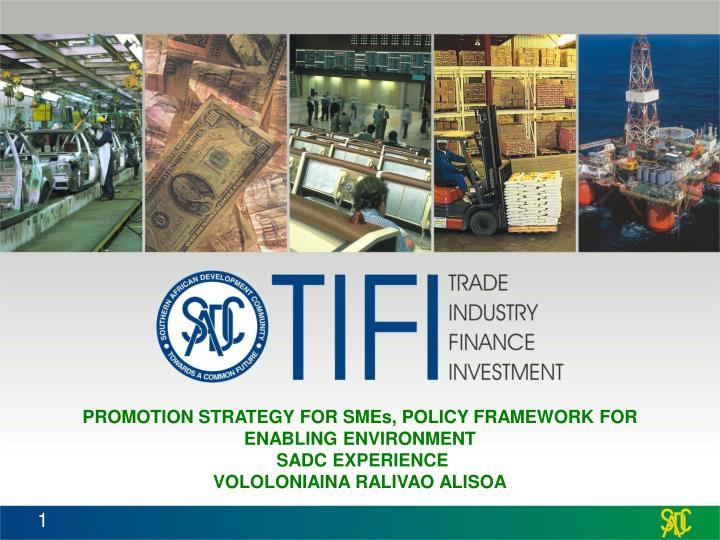 PROMOTION STRATEGY FOR SMEs, POLICY FRAMEWORK FOR ENABLING ENVIRONMENT
