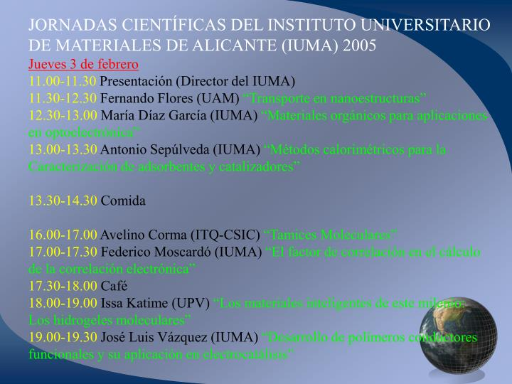 JORNADAS CIENTÍFICAS DEL INSTITUTO UNIVERSITARIO