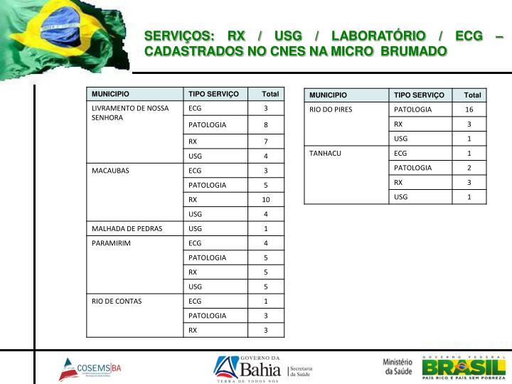 SERVIÇOS: RX / USG / LABORATÓRIO / ECG – CADASTRADOS NO CNES NA MICRO  BRUMADO